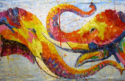 Elephant, Elephant Arts, Elephant Oil Painting 70x140cm - Cambodia Arts and Crafts