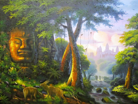 Angkor Wat, Angkorwat Oil painting, Painting of Angkor Wat 1mx2m - Cambodia Arts and Crafts