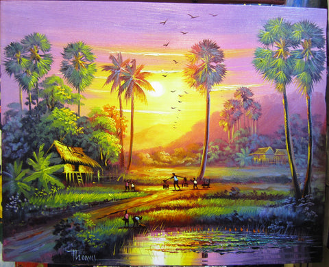 Lives in Countryside, Urban in Oil Painting 40 x 50cm - Cambodia Arts and Crafts
