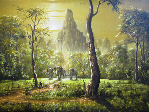 Bayon Temple, Painting of Bayon Temple 60 x80cm - Cambodia Arts and Crafts