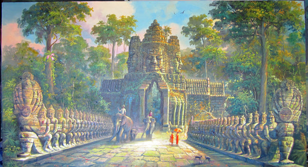 South Gate, South Gate of Angkor Thom in Oil Painting 100cm x180cm - Cambodia Arts and Crafts