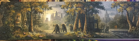 Angkorwat, Bayon oil painting, 40cm x 150cm - Cambodia Arts and Crafts