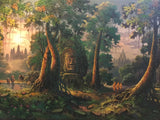 Khmer oil Painting, Angkorwat and bayon oil painting 100 x 200cm - Cambodia Arts and Crafts