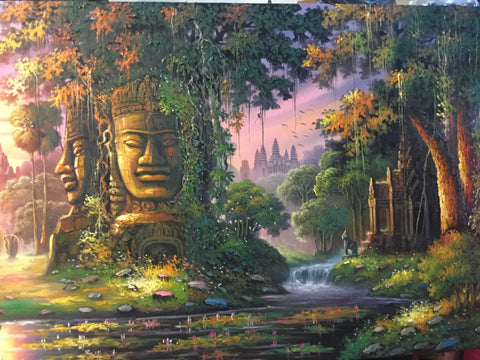 Original Oil Painting of Angkorwat and Bayon Temple 100 x 200cm
