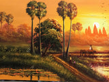 Khmer Painting, Cambodian landscape Painting 40cm x 150cm - Cambodia Arts and Crafts
