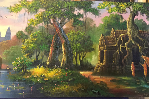 Angkorwat, Angkorwat Painting 40 cm x 150 cm - Cambodia Arts and Crafts