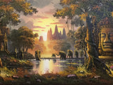 Khmer Oil Painting, Angkorwat Painting 70x140cm - Cambodia Arts and Crafts