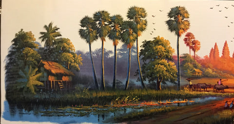 Original Countryside Oil Painting, Cambodia Landscape Oil Painting 40x150cm - Cambodia Arts and Crafts