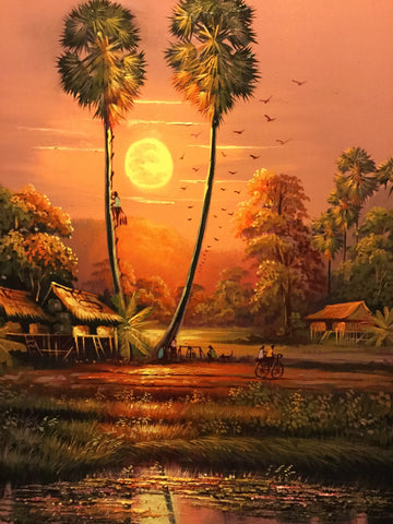 Cambodia Landscape, Cambodia Oil Painting 60 x 80cm - Cambodia Arts and Crafts