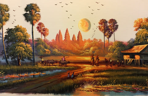 Original Countryside Oil Painting, Cambodia Landscape Oil Painting 40x150cm