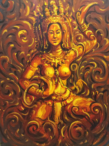 Apsara, khmer Apsara, Apsara Oil Painting 80x120cm - Cambodia Arts and Crafts