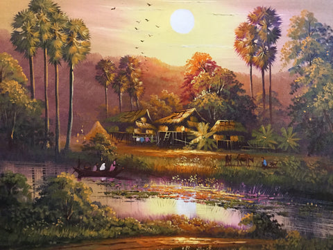 Cambodia landscape, Cambodian Countryside 60cm x 70cm - Cambodia Arts and Crafts