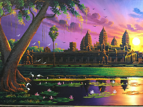 Angkorwat, Angkorwat Sunrise 70 x 140cm - Cambodia Arts and Crafts