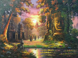 Original Oil Painting of Angkorwat and Bayon Temple 100 x 200cm - Cambodia Arts and Crafts