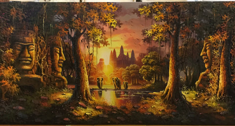 Angkorwat, Angkorwat Oil Painting 70x140cm - Cambodia Arts and Crafts