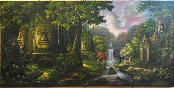 Cambodian temple, Made up ruins temples 100cm x 200cm - Cambodia Arts and Crafts