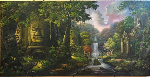 Cambodian temple, Made up ruins temples 100cm x 200cm