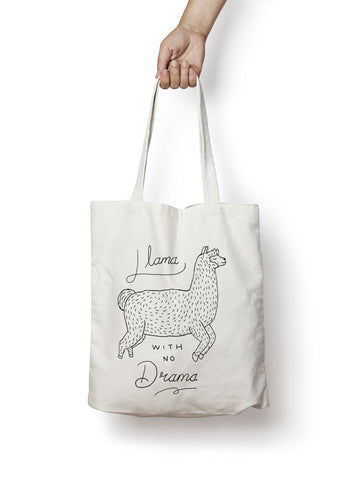 No Drama Llama White Canvas Tote Bag