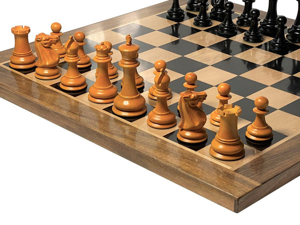 "1849 Antiqued Ebony Solid & 23"" Acacia Ebony Chessboard -  CHESSMAZE STORE UK"