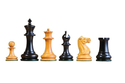 1851 Antiqued & Ebony  Chess Pieces