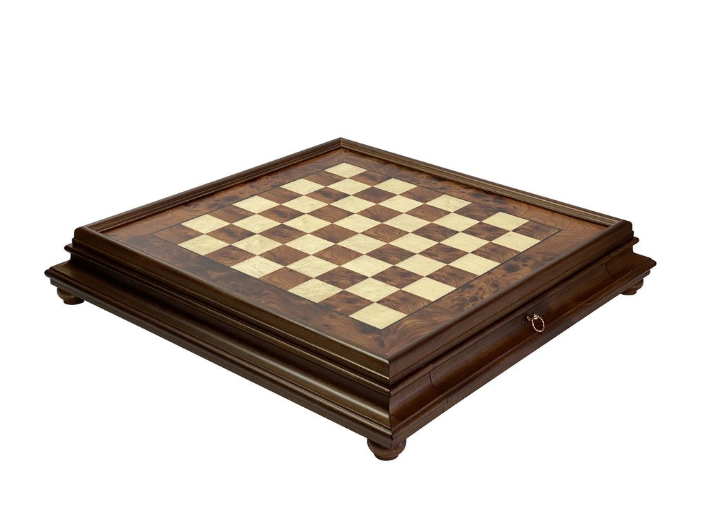 Italian Deluxe Briarwood Drawer Chess Board -  CHESSMAZE STORE UK