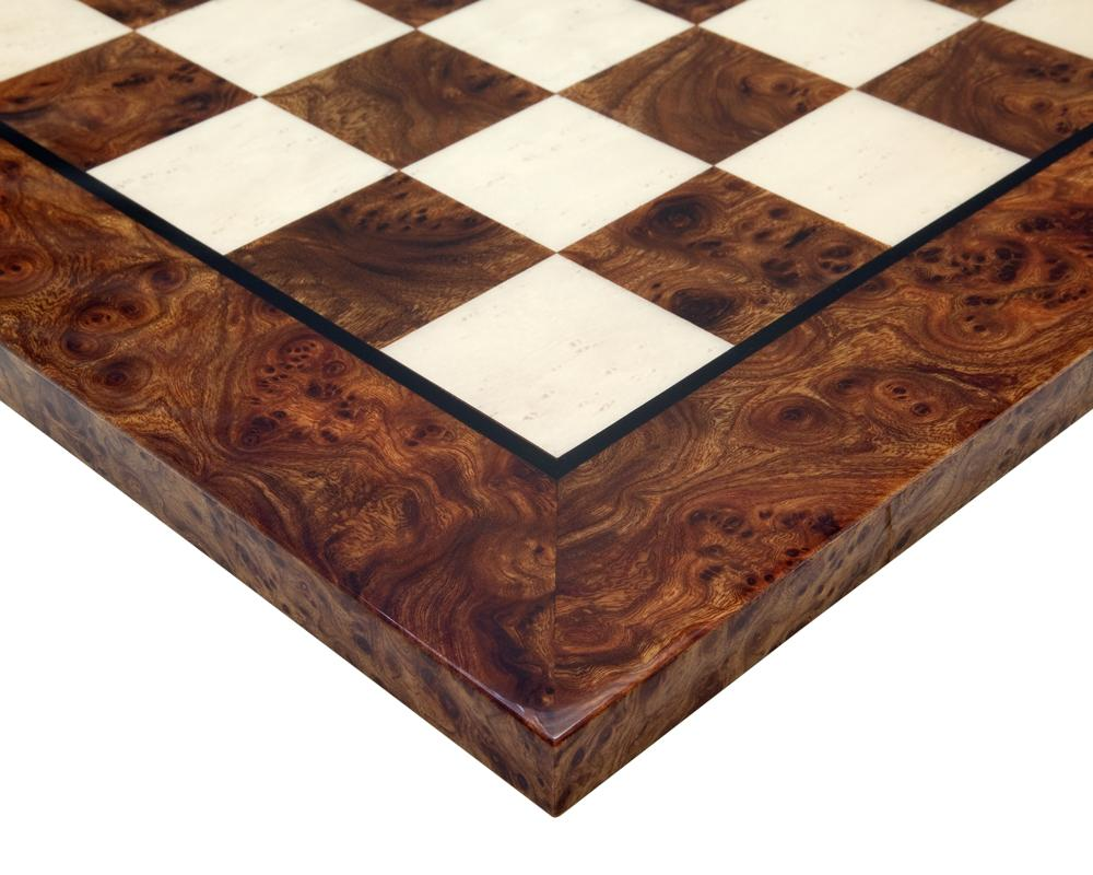 Italian Walnut and Maple Deluxe Chess Board -  CHESSMAZE STORE UK