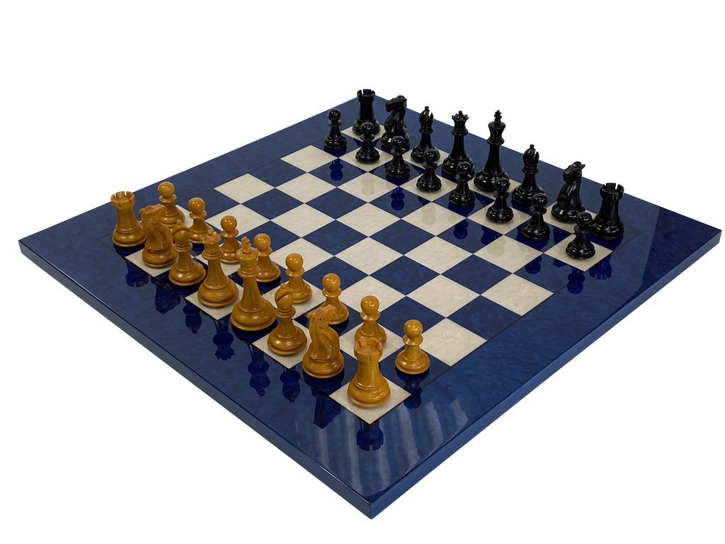 Antique Staunton Italian Blue Deluxe Chess Set -  CHESSMAZE STORE UK