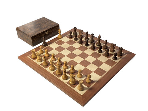 Grand Acacia Executive Burl & Mahogany Chess Set & Box -  CHESSMAZE STORE UK