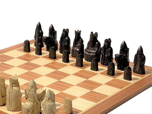 Isle of Lewis Chessmen & Mahogany Chess Board -  CHESSMAZE STORE UK