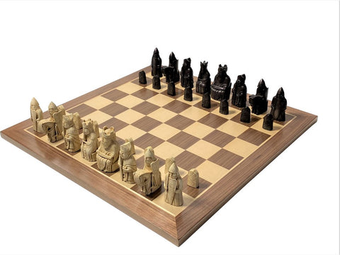 Isle of Lewis Chessmen & Walnut Chess Board -  CHESSMAZE STORE UK