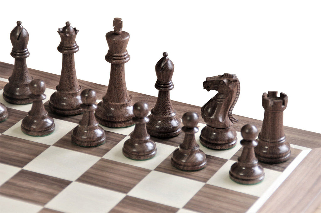 Acacia Walnut Winchester Natural Teak Chess Set -  CHESSMAZE STORE UK