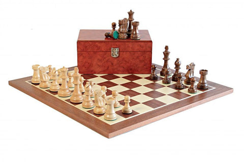 British Shisham Mahogany and Burl Chess Set
