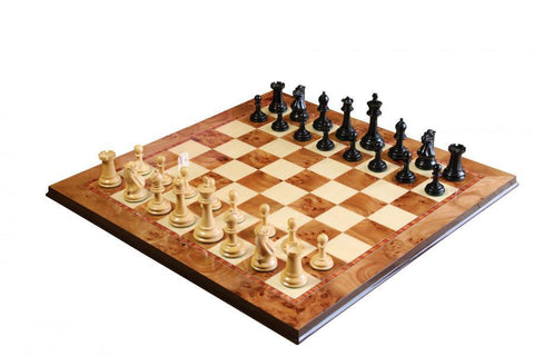 Morphy Ebonised Chess Set & Elm Chess Board