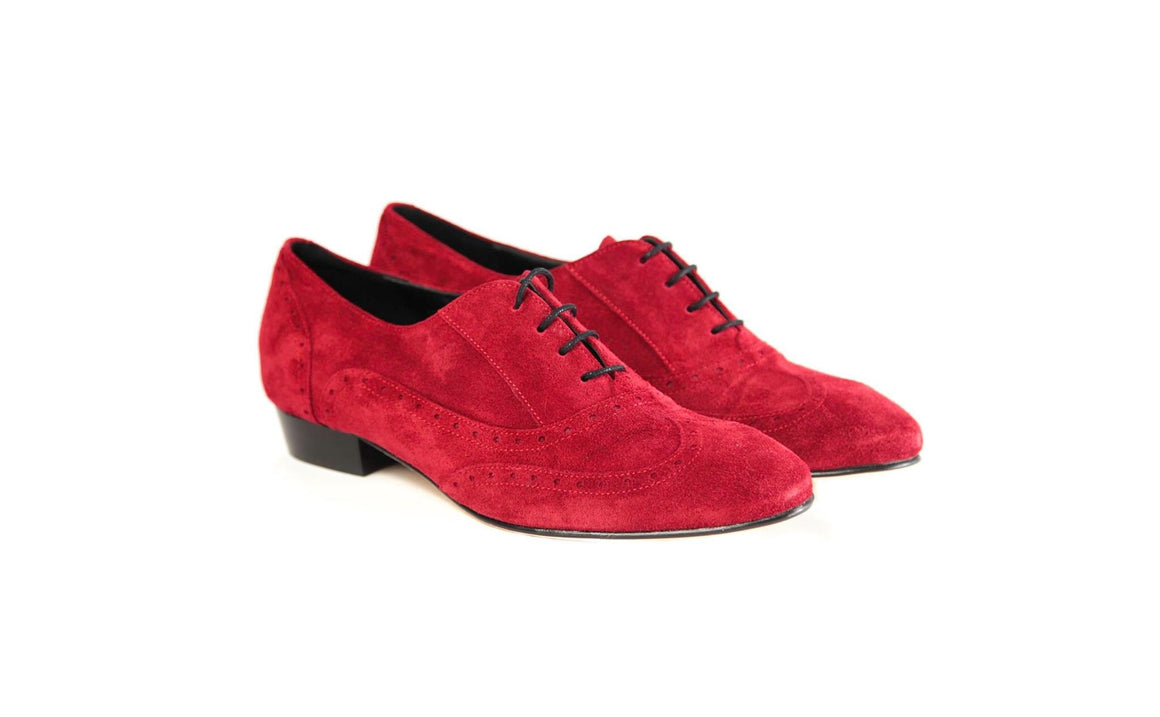 MENS RED SUEDE DANCE SHOES WEDDING SPECIAL OCCASIONS