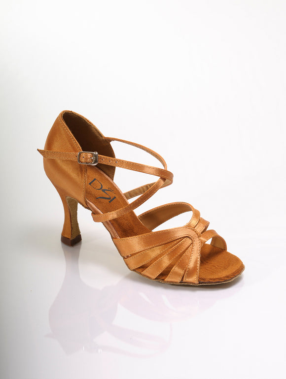 DSI tan low heel dance shoes for salsa, bachata, kizomba, latin, ceroc