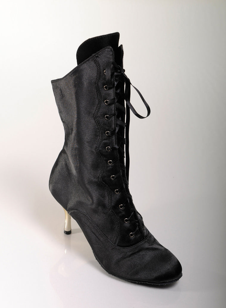 Black Satin stiletto dance boots suede sole front lace up zip on the side