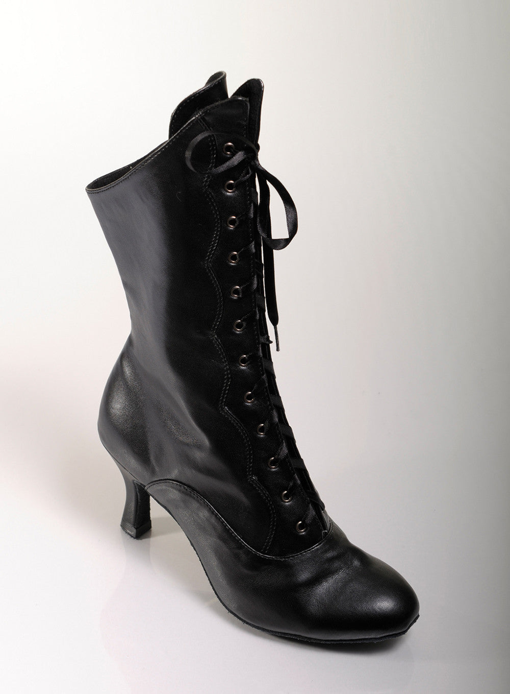 Black pleather PU dance boots low heel suede sole