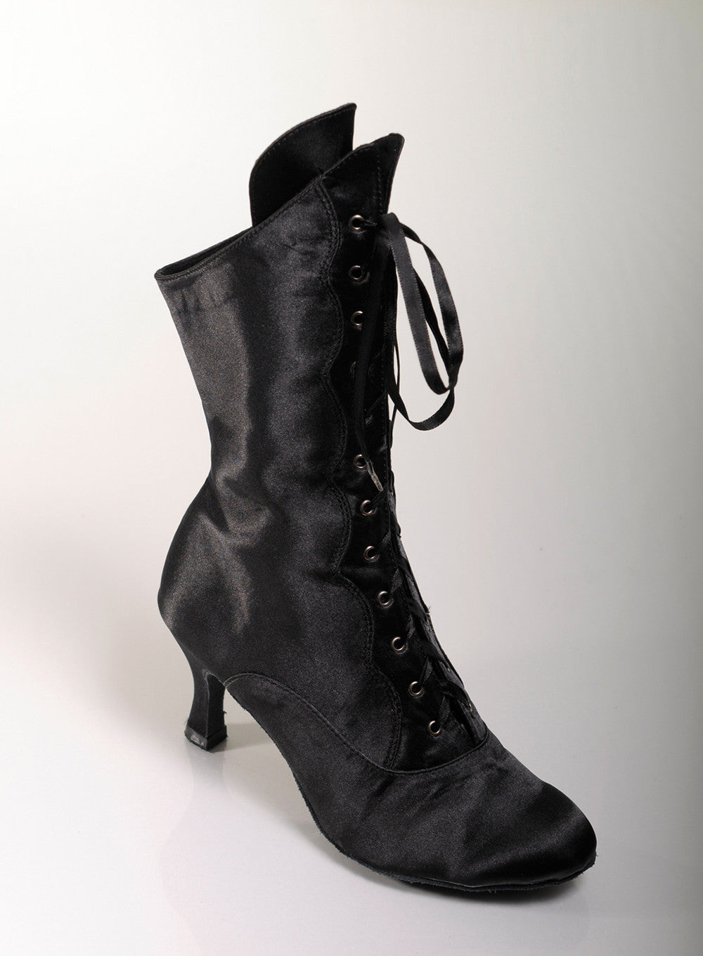 Black Satin low heel dance boots suede sole