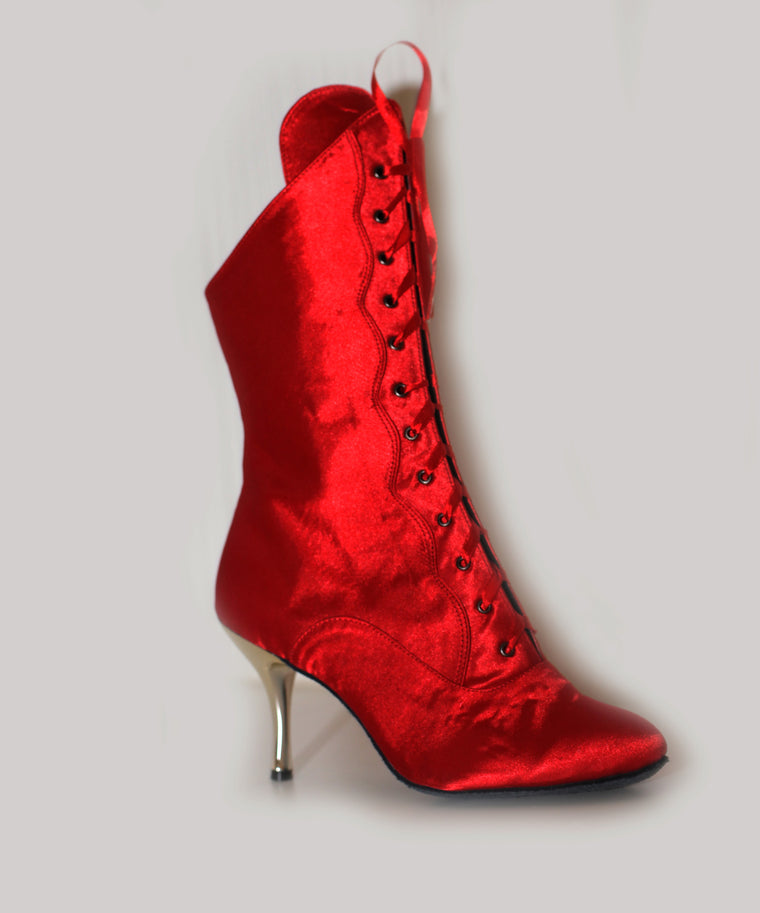 Red Satin stiletto dance boots lace up suede sole