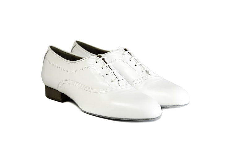Mens white leather dance shoes