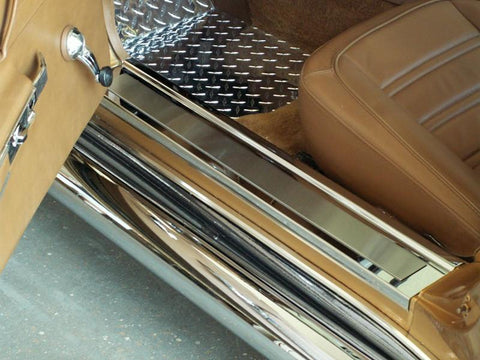 1968-1977 C3 Corvette - Doorsills Polished w/Brushed Inserts Deluxe 2Pc | Stainless Steel