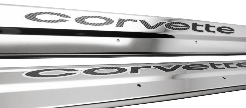 1978-1982 C3 Corvette - Door Sills Polished Stainless with Vinyl Inlay 2Pc | Choose Color American Car Craft