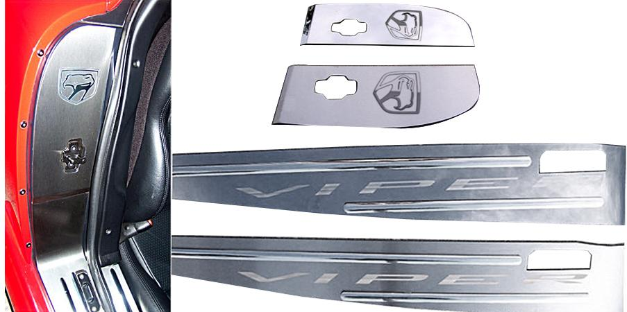 1992-2002 Dodge Viper - Door Sills VIPER Etched Kit | Stainless Steel, Choose Finish American Car Craft Viper