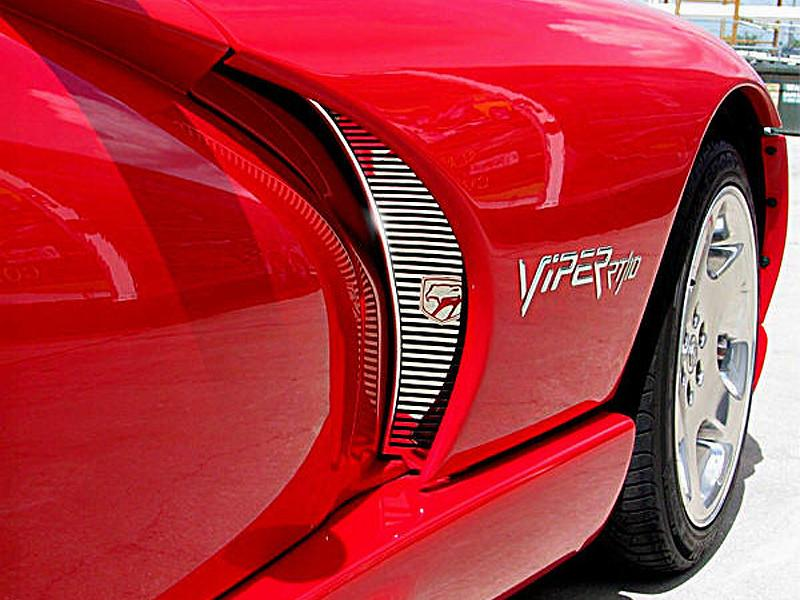 1996-2002 Dodge Viper - Side Hood Vent Grilles Billet Style with Viper Head 2Pc Polished American Car Craft