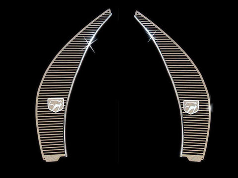 1996-2002 Dodge Viper - Side Hood Vent Grilles Billet Style w/Viper Head 2Pc | Polished Stainless Steel