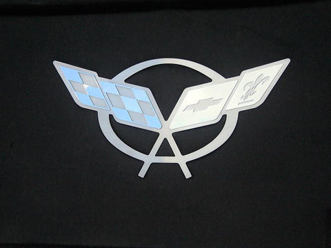 1997-2004 C5 Corvette - Hood Liner Badge C5 Crossed Flags American Car Craft