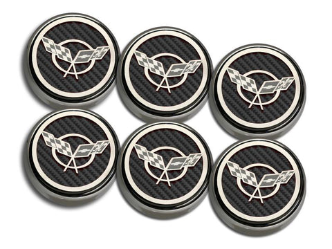 1997-2004 C5 & Z06 Corvette - C5 Cross Flag Emblem Fluid Cap Covers 6Pc | Manual Trans.