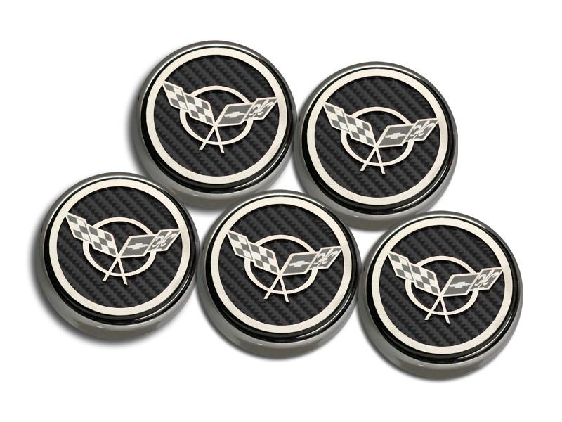 1997-2004 Corvette C5 & Z06 Fluid Cap Covers 5Pc Set With Carbon Fiber Crossed Flags American Car Craft