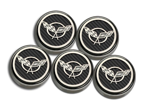 1997-2004 Corvette C5 & Z06 - 'Crossed Flags' Fluid Cap Covers 5Pc | Automatic Trans