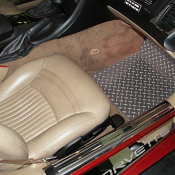 1999-2004 C5 & Z06 Corvette - Polished Diamond Plate Floor Mats 2Pc - must specify year American Car Craft